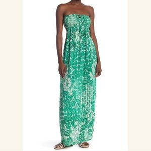 Boho Me Printed Strapless Smocked Ladder Back Maxi